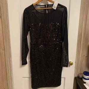 {Forever 21} black sequin long sleeve dress